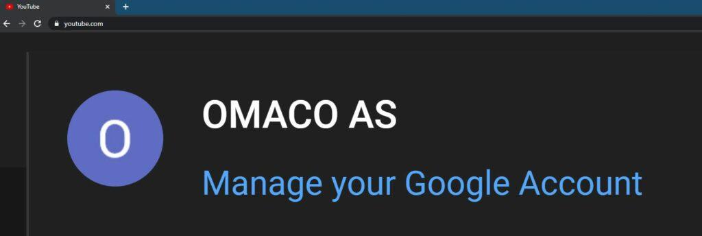 Skjermbilde av OMACO AS sin bedriftskonto på YouTube