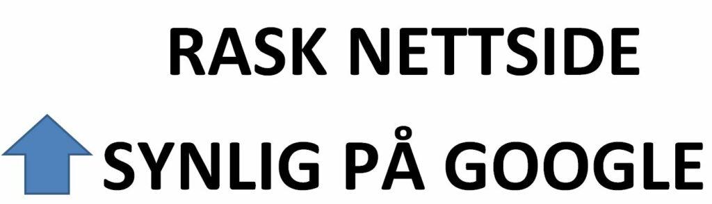 Bildet hvor det står i Rask nettside og en pil som går oppover foran synlig på Google på nettsiden til OMACO