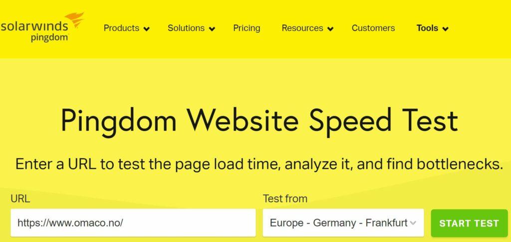 Bildet viser fylt inn url til nettsted til OMACO for å sjekke hvor rask nettsiden er på Pingdom Website Speed Test