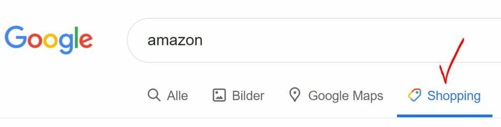 Skjermdump fra Google søk som viser at søkemotoren har en egen kategori for Shopping markert med rød V - OMACO