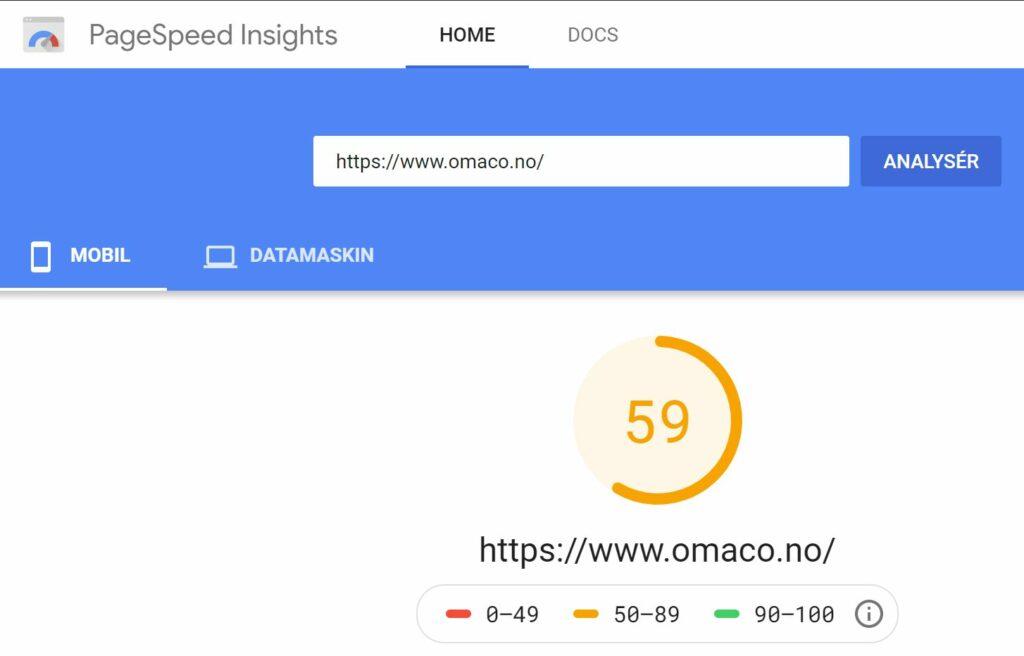 Skjermbilde av test utført med Google PageSpeed Insights på SEO rådgivningnettstedet OMACO - skår ble 59 ut av 100