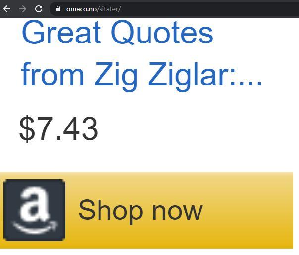 Bildet viser utdrag fra netsiden om sitater på OMACO hvor det står Great Quotes from Zig Ziglar med pris og Shop now på Amazon