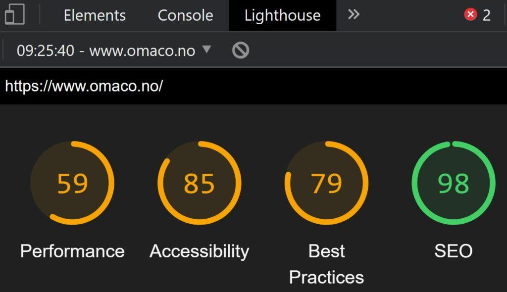 Bildet viser resultatet av auditering av nettsiden OMACO med Google verktøyet Lighthouse