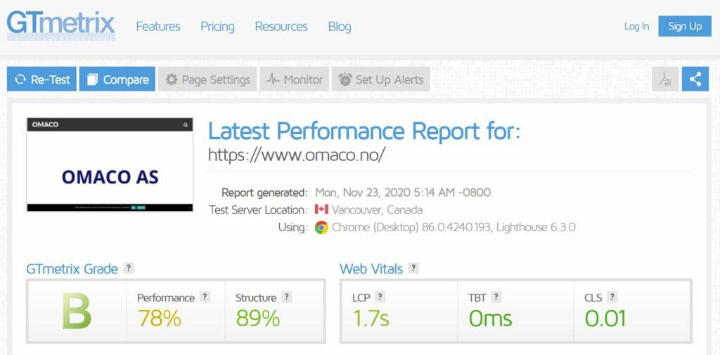 Bildet viser sammendrag av nettsidetest tatt av nettstedet til OMACO AS på GTmetrix - og viser at stedet har fått karakteren B og Performance 78% og Structure 89% hvor 100 er best