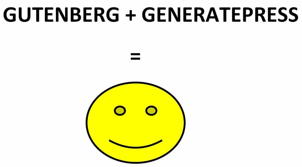Bildet viser teksten Gutenberg + GeneratePress i sterke, store sorte bokstaver er lik en stor smilende gul sol på nettsiden til OMACO
