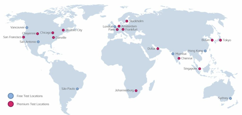 Kartet viser GTmetrix sine gratis og Premium fart domene test lokasjoner