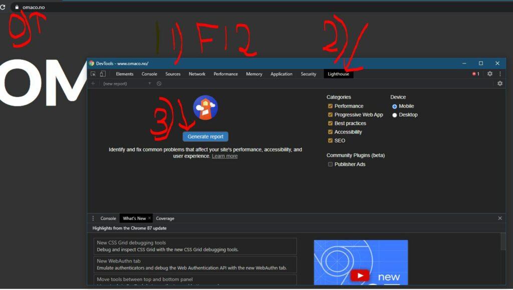 Bildet er tatt med skjermdump fra nettstedet til OMACO og gir en firetrinnsbruksanvisning for testing av fart og opplevelse av nettsted på mobil med Google verktøyet Lighthouse