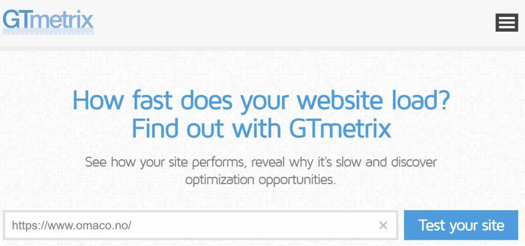 Skjermdump fra nettstedet til GTmetrix som har en gratis test du kan bruke for å teste din side - på bildet er url til OMACO fylt ut og det gjenstår å trykke Test Your Site