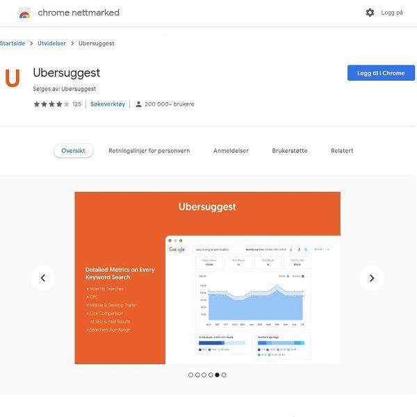 Ubersuggest Google Chrome Utvidelse