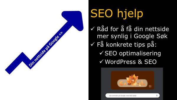 Blå pil som går oppover hvor det står din nettside på Google og sort infoboks med SEO råd tekst